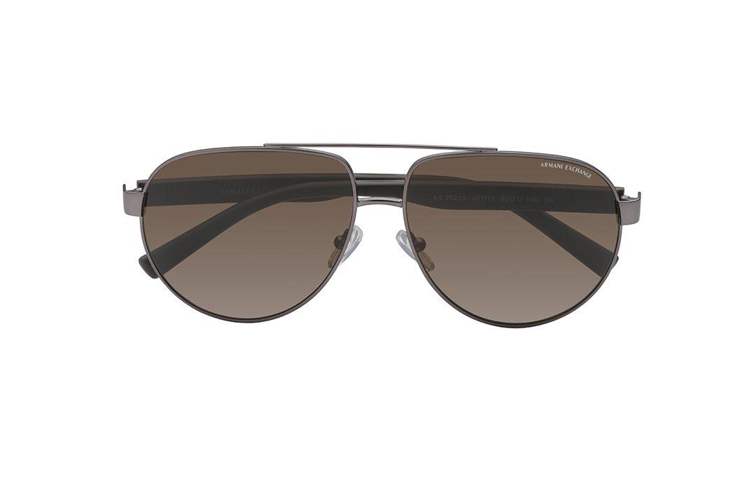 משקפי שמש ממתכת מסגרת בגוון אפור, עדשות בגוון חום