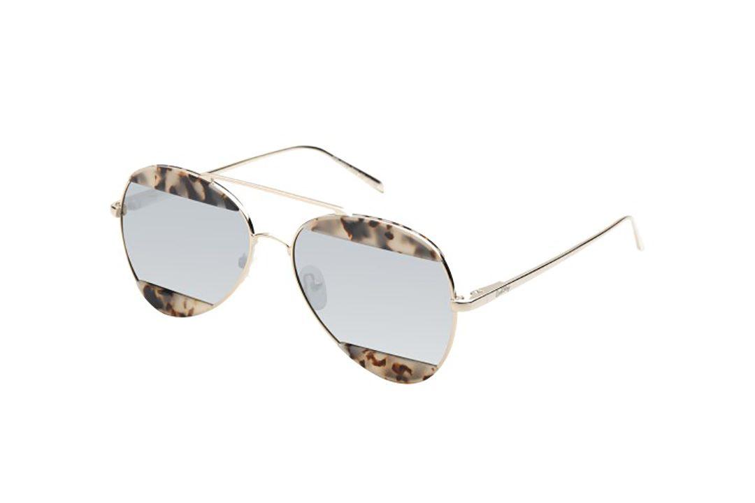 משקפי שמש מבית COOLRAY במסגרת טייסים זהובה בשילוב  עדשות מראה כסופות
