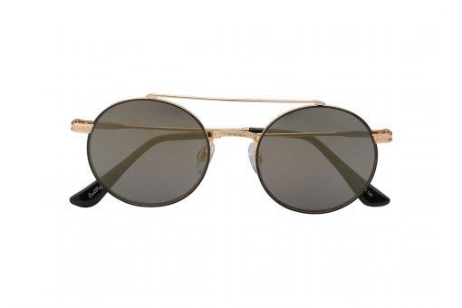 משקפי שמש ממתכת  מסגרת עגולה עם גשר כפול בגוון זהב עדשות כהות