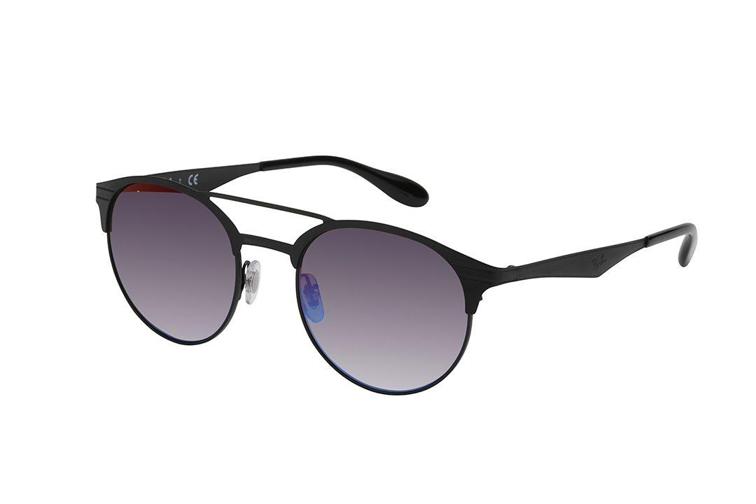 """משקפיי שמש  עגולים ממתכת, """"מסגרת חצי"""" וזרועות בגוון שחור מט, גשר כפול בצבע שחור ועדשות מראה כחולות"""