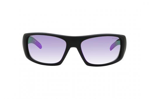 משקפי שמש של מסגרת קמורה בגוון שחור עדשות מראה בגוון סגול