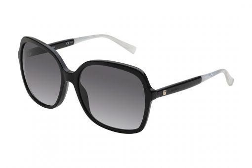 משקפי אובר סייז מרובעים, חזית בצבע שחור מבריק, זרועות בשחציין שחור וחציין במראה פנינה, עדשות בצבע אפור