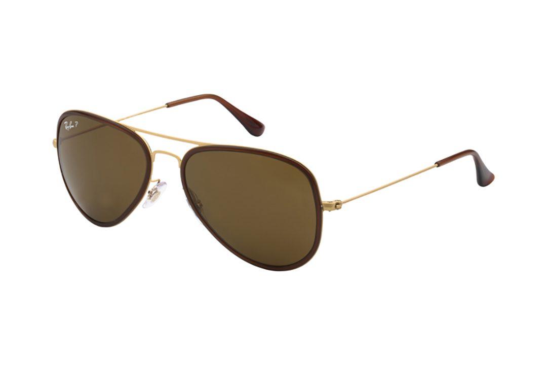 """משקפי שמש """"טייסים"""", מסגרת וזרועות ממתכת בשילוב גווני זהב וחום, עדשה חומה"""