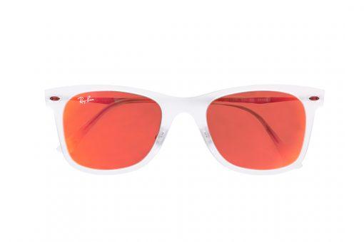 משקפי שמש רייבן בעיצוב וייפרר (מלבני), בעלי מסגרת בגוון שקוף מט, עדשות מראה ורודה וידיות כסופות