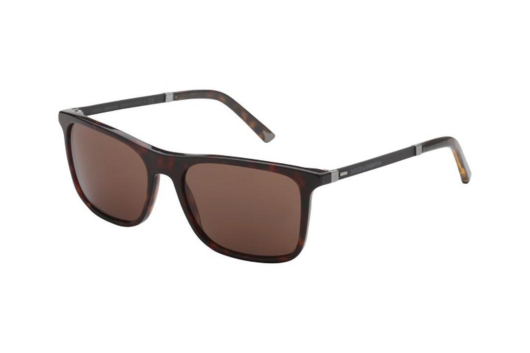 משקפי שמש מלבניים, חזית במראה מנומר, זרועות משולבות שחור מט וגוון מנומר, עדשות בצבע חום