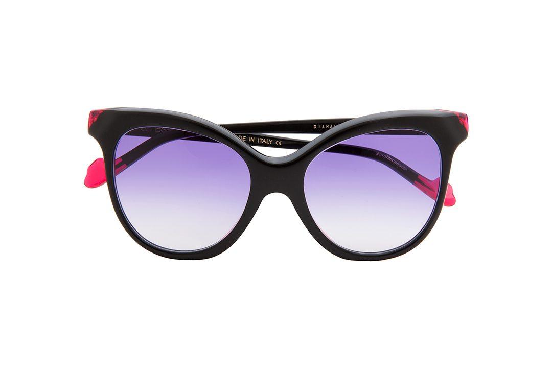 משקפי שמש לנשים דגם אובר סייז חתולי בגוון שחור וורוד ועדשות כהות