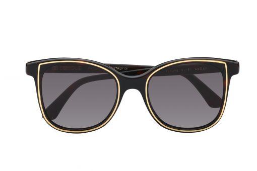 משקפי שמש לנשים Essedue דגם אובר סייז מרובע בגוון שחור עם פס זהב עדין עדשות כהות