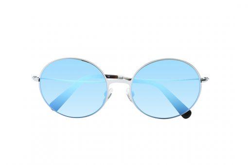 משקפי שמש בעלי מסגרת עגולה, חזית וזרועות בצבע כסף, עדשות מראה כחולה