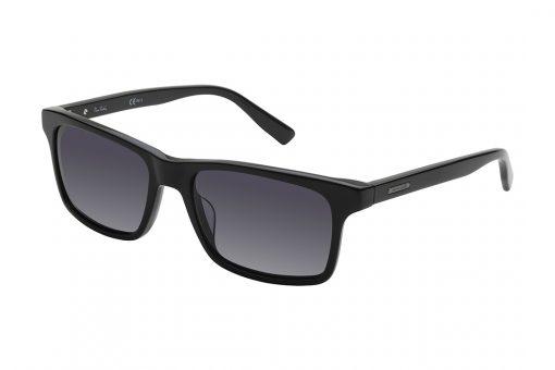 משקפי שמש גבריים מלבניים, מסגרת וזרועות אצטט דקות בצבע שחור ועדשות אפורות