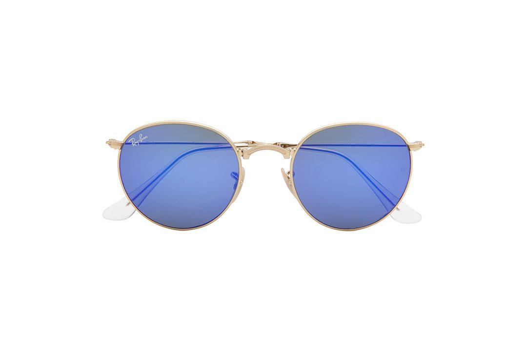 משקפי שמש מרובעים בעיצוב וייפרר, מסגרת וזרועות בגוון כחול נייבי, עדשות בגוון אפור-ירוק