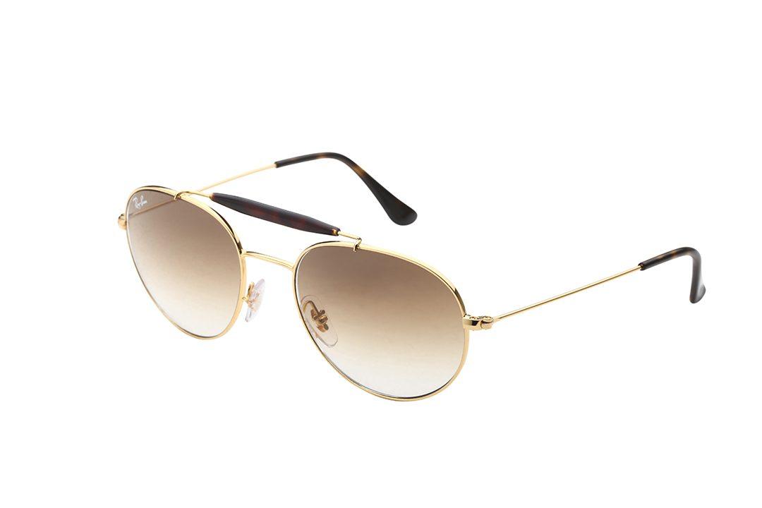 משקפי שמש מדגם טייסים בעיצוב נשי מעוגל, בעלי גשר כפול, מסגרת וזרועות בגוון זהב בשילוב פלסטיק מנומר