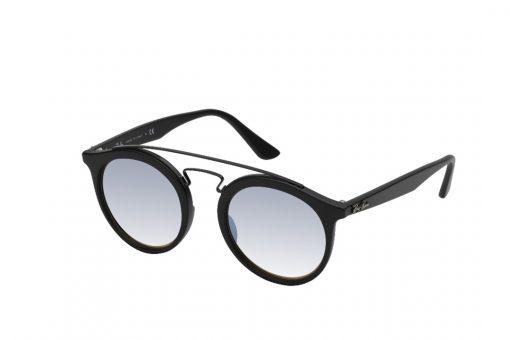 משקפי שמש עגולים עם גשר אף כפול גבוה, מסגרת בשחור מט, עדשות מראה אפורות