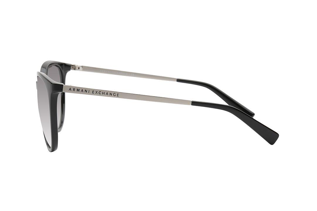 משקפי שמש ARMANI EXCHANGE מסגרת אובר סייז עגולה בגוון שחור, זרועות בגוון כסף, סופיות בגוון שחור, עדשות בגוון אפור