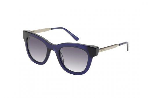 משקפי שמש מבית COOLRAY במסגרת מרובעת כחולה בשילוב מתכת עם עדשות בגוון אפור מדורג