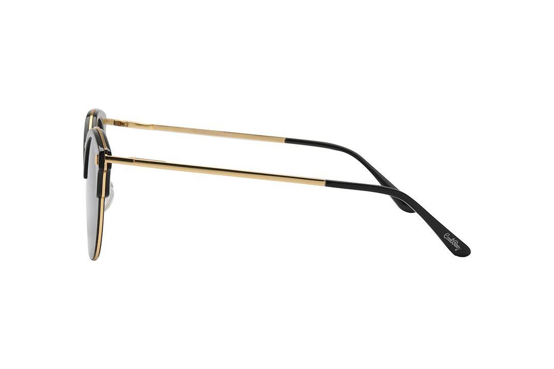 משקפי שמש מבית COOL RAY בדגם עגול בגווני שחור וזהב ועדשות כהות