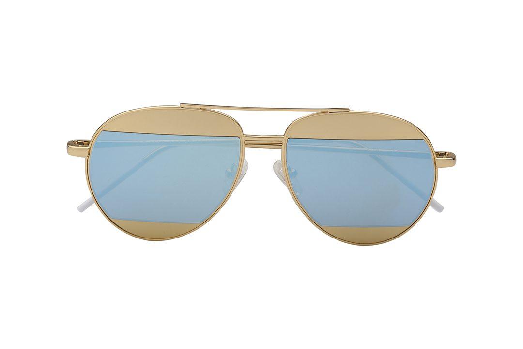משקפי שמש מבית COOL RAY בדגם טייסים קלאסי ועדשות שחציין בגוון מראה כסוף וחציין בגוון זהב