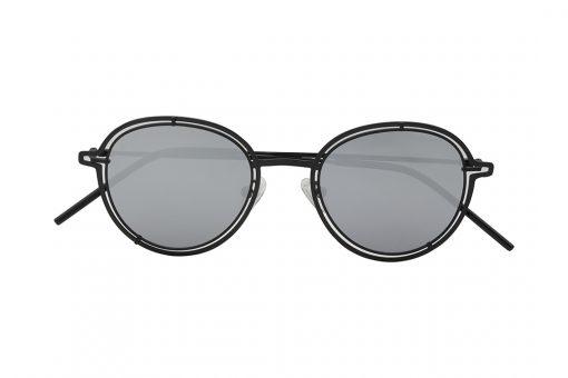 משקפי שמש מבית COOL RAY בדגם עגול קלסי בגוון שחור ועדשות מראה בגוון כסוף