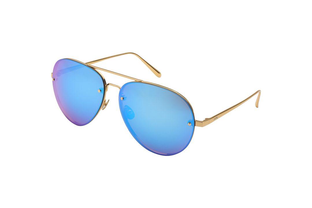 משקפי שמש מבית COOLRAY במסגרת טייסים זהוב הבעלת עדשות מראה כחולות