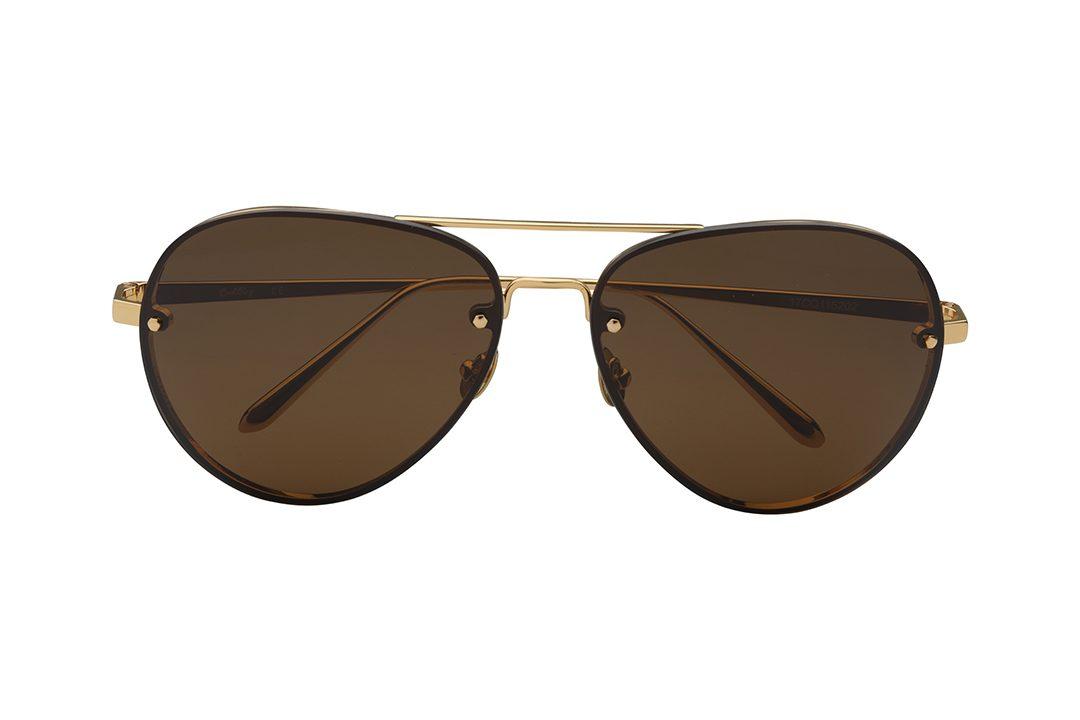 משקפי שמש מבית COOLRAY במסגרת טייסים זהובה בעלת עדשות חומות