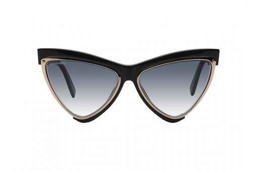 משקפי שמש במראה משולש חתולי,  מסגרת פנימית מוזהבת בצורת משולש, שסביבת מסגרת חיצונית שחורה הכוללת את הגשר העליון, הזרועות והצלע הפנימית , עדשות בגוון כחול