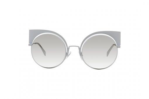 משקפי שמש בעלי מסגרת ממתכת, במראה חתולי בצבע לבן, זרועות בצבע לבן