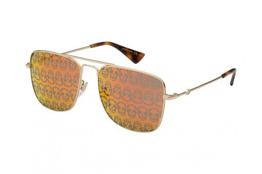 משקפי שמש גוצ'י בעיצוב ייחודי של עדשות מראה עם הדפס גולגולות טרנדי