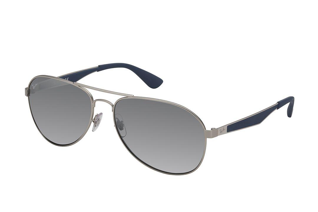משקפי מתכת טייסים, מסגרת כסופה דקיקה, זרועות בשילוב כסף ואפור מט ועדשות מראה אפורות