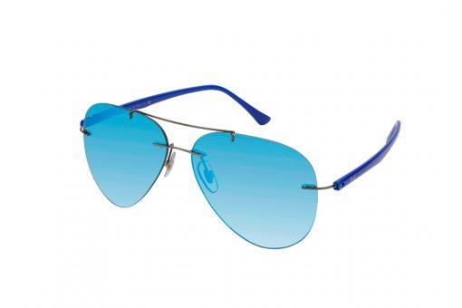 """משקפי שמש """"טייסים"""", ללא מסגרת, גשר אף כפול בגוון אפרפר, זרועות כחולות ועדשות מראה כחולות"""