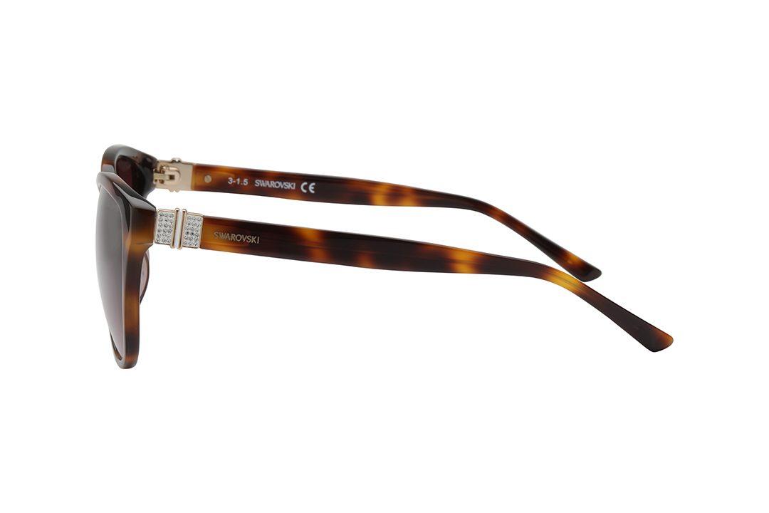 משקפי שמש מבית SWAROVSKI בדגם אובר סייז חתולי בגוון מנומר ועדשות מדורגות בגוון חום