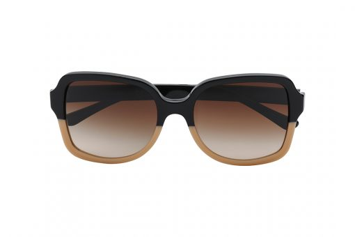 משקפי שמש אובר סייז בצורת מרובע, חזית מחולקת לשני צבעים - חצי עליון בשחור וחצי תחתון בצבע קרם, זרועות בצבע שחור, עדשה בצבע חום