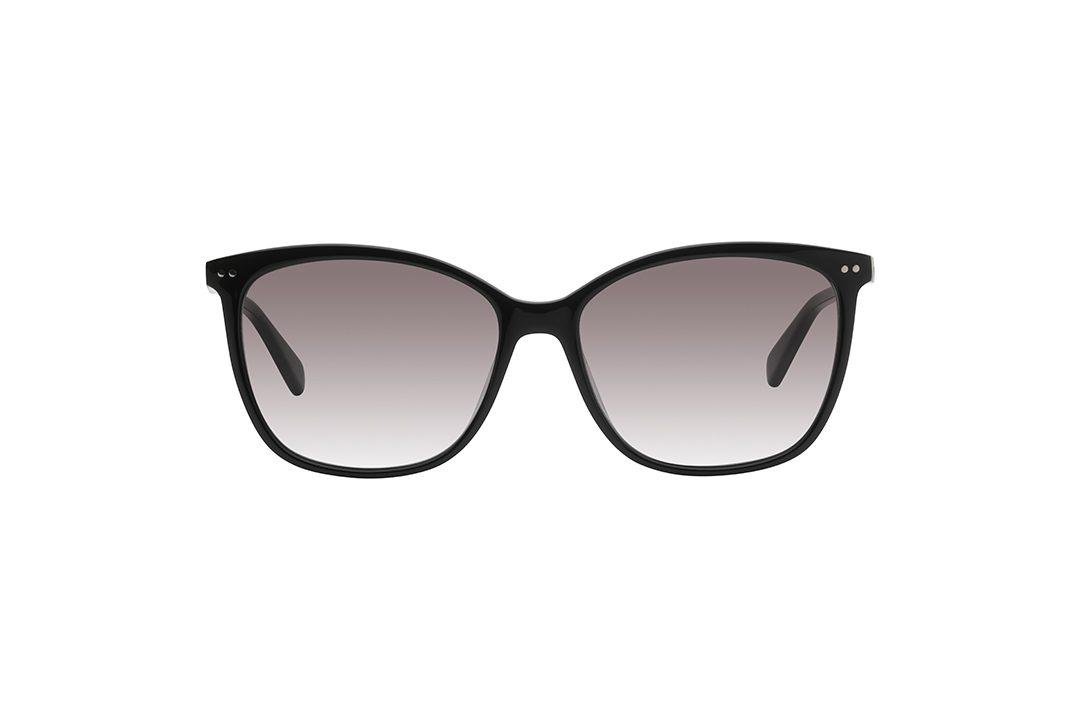 משקפי שמש מלבניים עם אדג' חתולי, מסגרת דקה שחורה שחלקה העליון ופינותיה במראה חתולי, בשילוב עיטורי נקודות כסופות עדינות בפינות ועל הזרועות, עדשות בצבע אפור