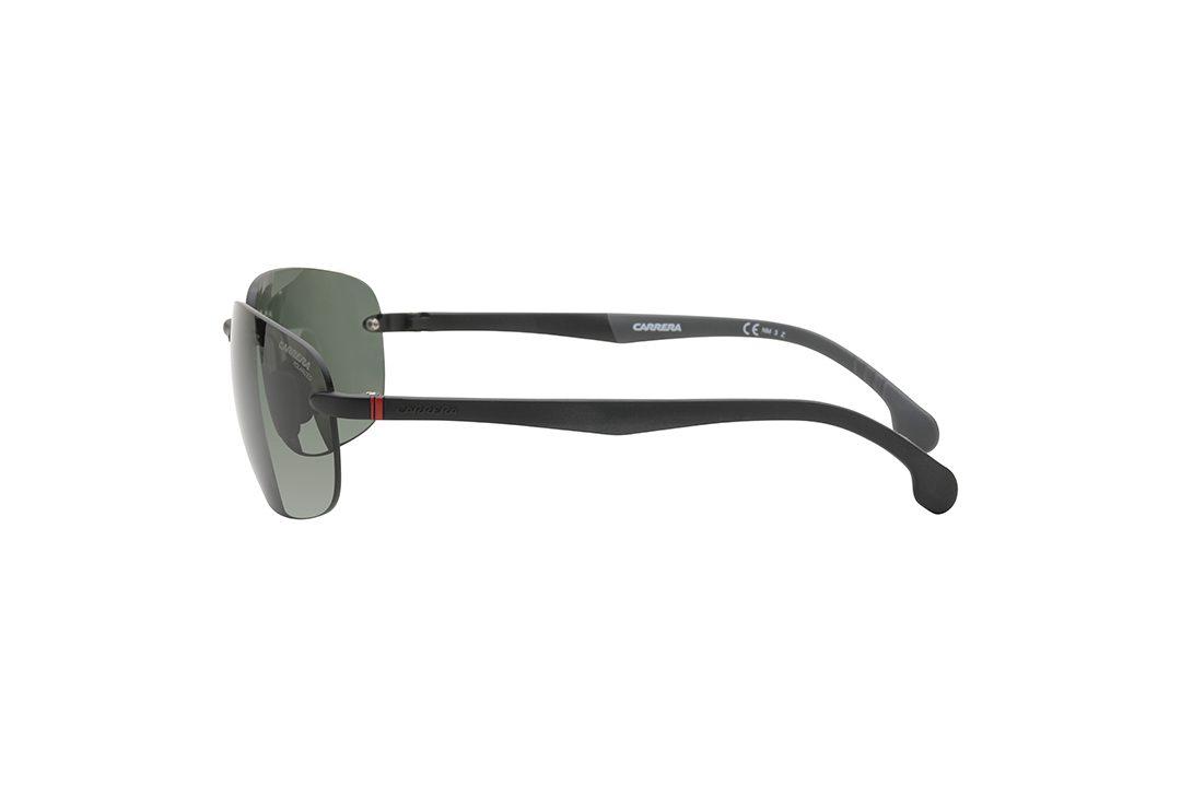 משקפי שמש קררה גבריים מלבניים, קלים במיוחד, עדשות נטולות מסגרת, גשר אף וזרועות אצטט בצבע שחור, עדשות בגוון ירוק