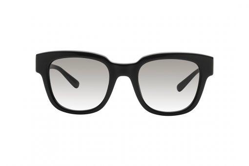 משקפי שמש אובר סייז מלבניות עם פינות מודגשות, מסגרת וזרועות שחורות ועדשה אפורה