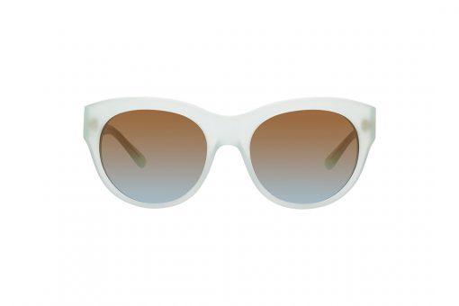 משקפי שמש במראה חתולי, מסגרת וזרועות באפרפר חלבי, עדשות בגוון חום-ירוק