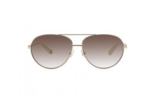 משקפי שמש ג'וסי קוטור טייסים במראה אלגנטי, מסגרת מוזהבת וזרועות מוזהבות בעיצוב של חוליות שרשרת בשילוב חומר פלסטי בצבע לבן, עדשות בגוון חום