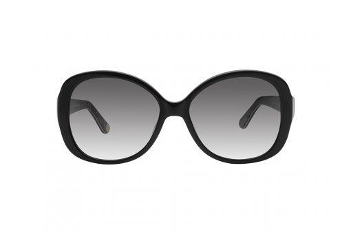 משקפי שמש ג'וסי קוטור אובר סייז מרובעים, זרועות בצבע שחור בשילוב אלמנט מתכתי כסוף בחיבור עם המסגרת השחורה, עדשות בצבע אפור