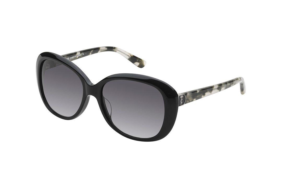 משקפי שמש ג'וסי קוטור אובר סייז אובליים, מסגרת בצבע שחור מבריק, זרועות במראה מנומר שחור לבן חצי שקוף, עדשות בצבע אפור