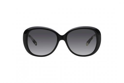 משקפי אובר סייז אובליים, מסגרת בצבע שחור מבריק, זרועות במראה מנומר שחור לבן חצי שקוף, עדשות בצבע אפור