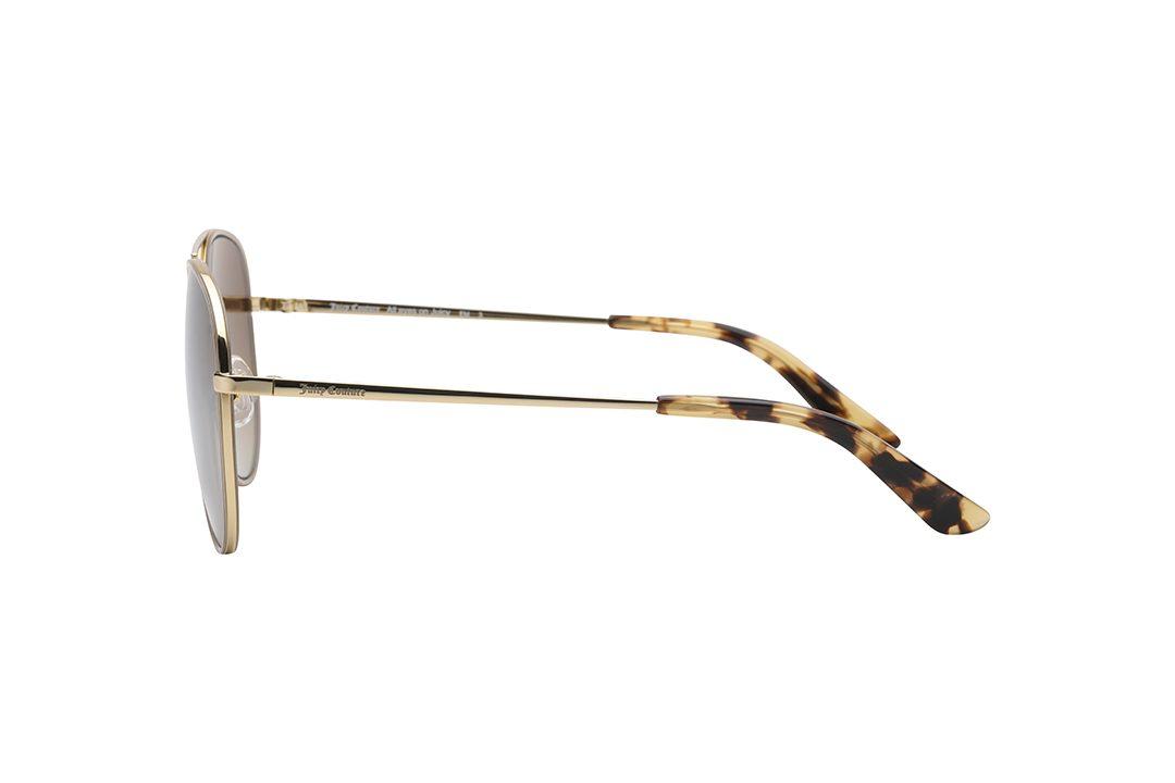 משקפי שמש טייסים, מסגרת דקיקה, גשר אף כפול וזרועות בצבע זהב, סיומת  הזרועות מנומרת, עדשות מראה כסופה