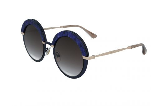 משקפי שמש מבית Jimmy Choo בדגם אובר סייז עגול פרונט בגוון כחול חצי מנצנץ ועדשות מדורגות בגוון חום
