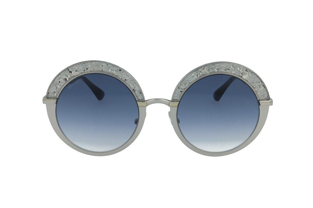 משקפי שמש מבית Jimmy Choo בדגם אובר סייז עגול פרונט בגוון כסוף חצי מנצנץ ועדשות מדורגות בגוון כחול