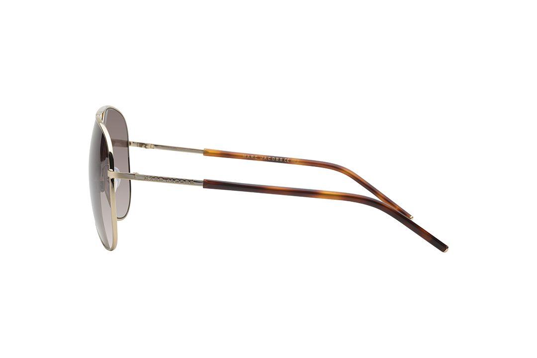 משקפי שמש במראה טייסים, מסגרת דקיקה בצבע זהב, זרועות משולבות זהב ומנומר, עדשה חומר