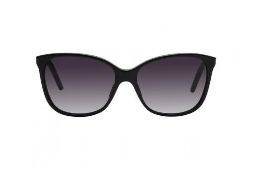 משקפי שמש מלבנים עם פינות במראה מעט חתולי, מסגרת אצטט דקה בצבע שחור, עדשות אפורות