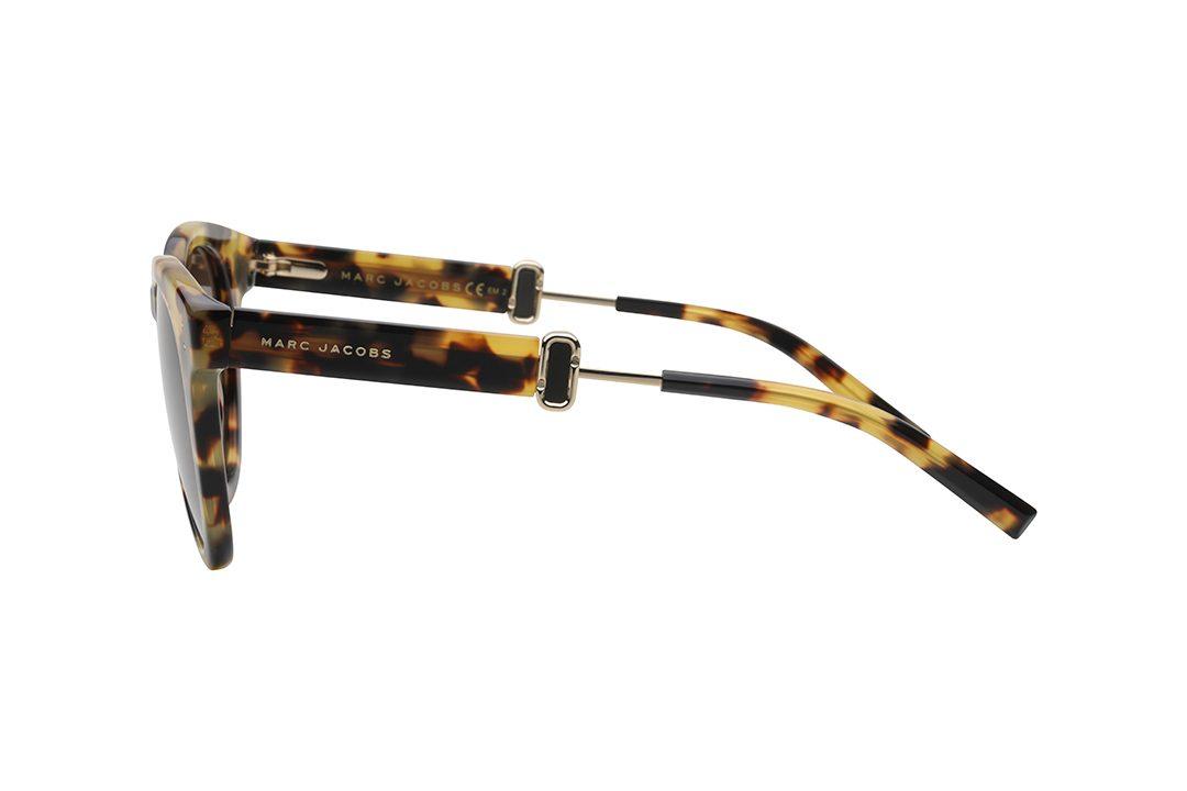 משקפיים עגולים, מסגרת אצטט עגולה עם נגיעה חתולית בצדדים, מסגרת מנומרת, זרועות מנומרות, עדשה חומה