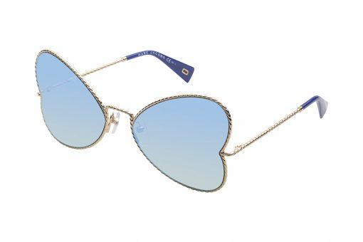 משקפי שמש בצורה ייחודית, שמזכירה פרפר, מסגרת דקיקה בדוגמת חבל בצבע זהב, זרועות בשילוב זהב וכחול ועדשות מראה בגוון טורקיז