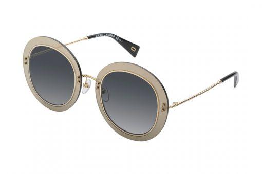 משקפי שמש מבית MARC JACOBS בדגם אובר סייז עגול עם אלמנט החבל בזרועות ובגשר האף בגוון זהב