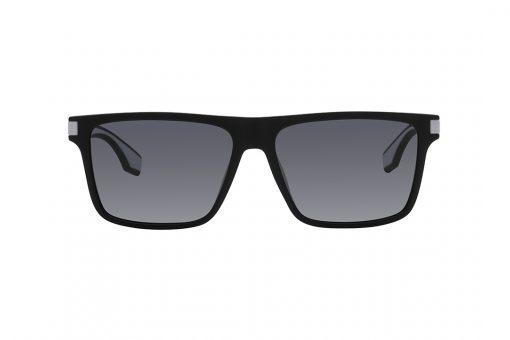 משקפי שמש גבריים, חזית מלבנית בצבע שחור מט וזרועות בשילוב שחור מט ולבן מט בתוכו, עדשות אפורות כהות