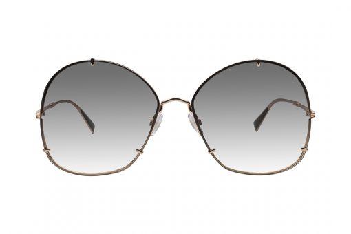 משקפי אובר סייז בעלי צורה ייחודית:. עדשות בצורה שחלקה העליון מעוגל וחלקה התחתון ריבועי, מסגרת פנימית דקיקה בצבע זהב, המשלבת 3