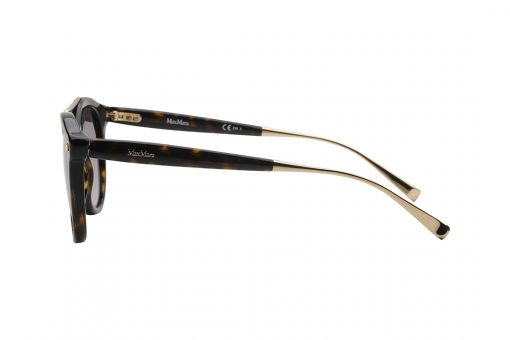 משקפי שמש עגולים עם פינות חתוליות, חזית בגוון מנומר בשילוב גשר אף עליון דקיק בצבע זהב ועיטורים מוזהבים קטנים בפינות, זרועות מנומרות עם סיומת מוזהבת, עדשות בצבע חום