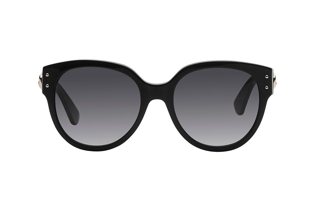 משקפי שמש אובר סייז עגולות עם פינות חתוליות. מסגרת  וזרועות בצבע שחור מבריק, על הזרועות שגם הן בצבע שחור, דמות של דב בצבע זהב, עדשות בגוון אפור